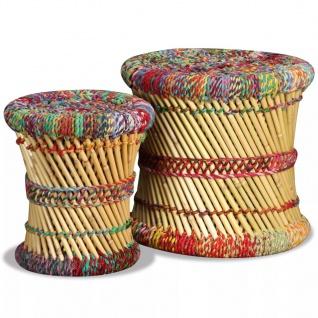 vidaXL Hocker mit Chindi-Details 2 Stk. Mehrfarbig Bambus