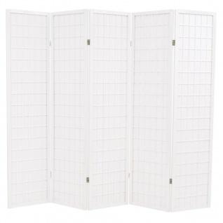 vidaXL 5-tlg. Raumteiler Japanischer Stil Klappbar 200 x 170 cm Weiß