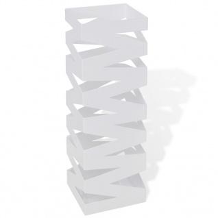 Schirmhalter Schirmständer Gehstock Stahl weiß quadratisch 48, 5 cm
