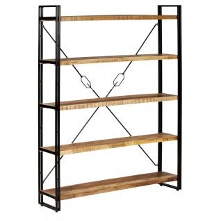 vidaXL Bücherregal mit 5 Ablagen Massivholz Mango 140×30×180 cm