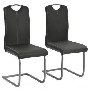 vidaXL Esszimmerstühle 2 Stk. Kunstleder 43 x 55 x 100 cm Grau