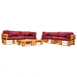 vidaXL 6-tlg. Garten-Paletten-Sofagarnitur mit Roten Kissen Holz