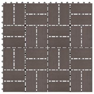 vidaXL Terrassenfliesen 11 Stück WPC 30 x 30 cm 1 qm Dunkelbraun