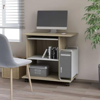 vidaXL PC-Tisch Weiß und Sonoma-Eiche 80×50×75 cm Spanplatte