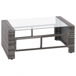 vidaXL 4-tlg. Garten-Lounge-Set mit Auflagen Poly Rattan Grau - Vorschau 5