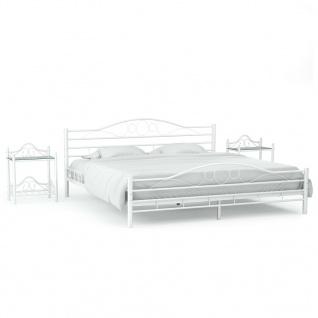 vidaXL Bettrahmen mit 2 Nachttischen Weiß Metall 160 x 200 cm