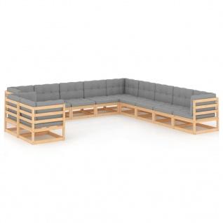 vidaXL 11-tlg. Garten-Lounge-Set mit Kissen Kiefer Massivholz