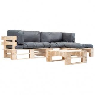 vidaXL 4-tlg. Garten-Paletten-Sofagarnitur mit Grauen Kissen Holz