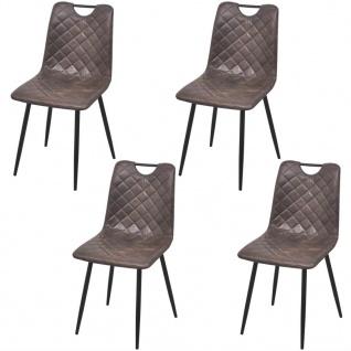 vidaXL Esszimmerstühle 4 Stk Kunstleder Dunkelbraun