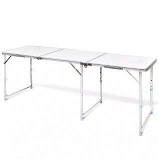 Campingtisch zusammenklappbar höhenverstellbar Aluminium 180 x 60 cm