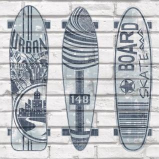 Urban Friends & Coffee Tapete Surfbretter Blau und Weiß