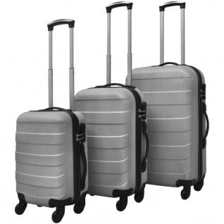 vidaXL 3-tlg. Hartschalen-Reisekoffer-Set Trolley Silber