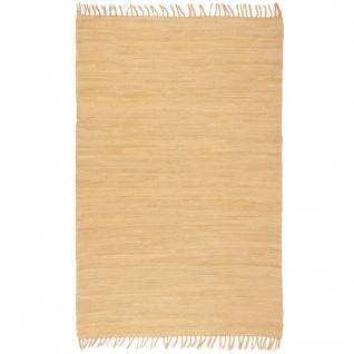 vidaXL Handgewebter Chindi-Teppich Baumwolle 120x170 cm Beige
