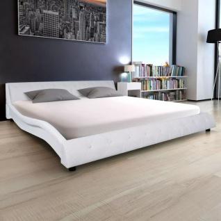 vidaXL Bett mit Matratze Kunstleder 180 x 200 cm Weiß
