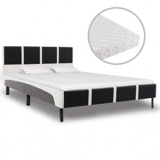 vidaXL Bett mit Matratze Schwarz und Weiß Kunstleder 120 × 200 cm