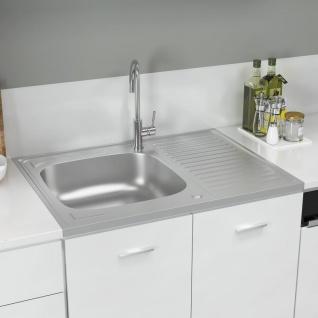 vidaXL Küchenspüle mit Abtropfset Silbern 800x600x155 mm Edelstahl