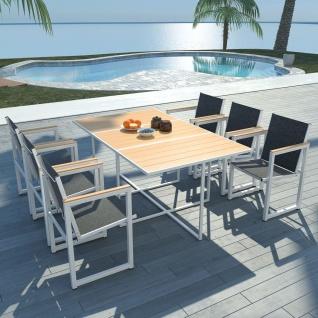 vidaXL 7-tlg. Garten-Essgruppe mit WPC-Tischplatte Aluminium