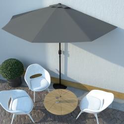 vidaXL Balkon-Sonnenschirm mit Alu-Mast Anthrazit 300×150 cm Halbrund