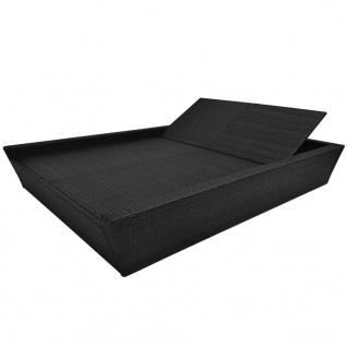 vidaXL Outdoor-Lounge-Bett mit Polster Poly Rattan Schwarz - Vorschau 5