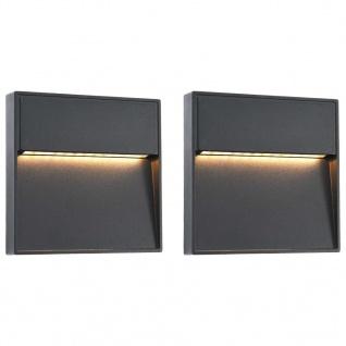 vidaXL Außenwandleuchten 2 Stk. LED 3W Schwarz Quadratisch