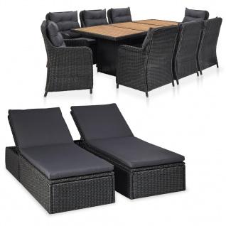 vidaXL 11-tlg. Garten-Lounge-Set Poly Rattan Schwarz