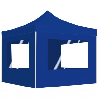 vidaXL Profi-Partyzelt Faltbar mit Wänden Aluminium 3x3 m Blau