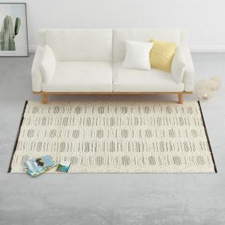 vidaXL Teppich Handgewebt Wolle 160×230 cm Weiß/Schwarz