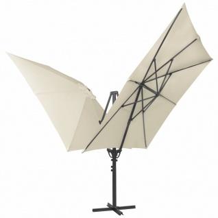 vidaXL Doppelsonnenschirm mit 2 Schirmdächern 300 x 300 cm Creme