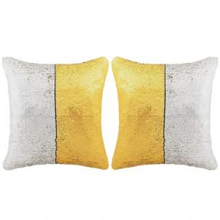 vidaXL Kissen-Set mit Pailletten 2 Stk. 45 x 45 cm Golden und Silbern