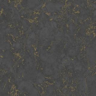 DUTCH WALLCOVERINGS Tapete Marmor-Optik Schwarz und Golden
