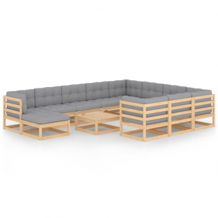 vidaXL 12-tlg. Garten-Lounge-Set mit Kissen Kiefer Massivholz