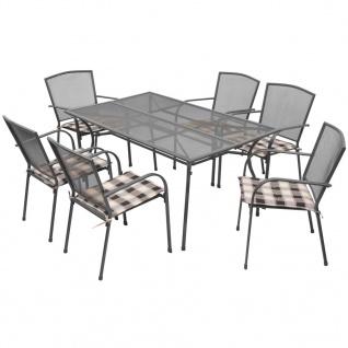 vidaXL 7-tlg. Garten-Essgruppe mit Auflagen Stahl Anthrazit