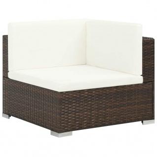 vidaXL 6-tlg. Garten-Lounge-Set mit Auflagen Poly Rattan Braun - Vorschau 3