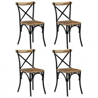 vidaXL Esszimmerstühle 4 Stk. Schwarz Mango-Massivholz