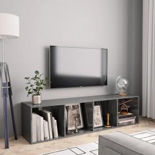 vidaXL Bücherregal/TV-Schrank Hochglanz-Grau 143×30×36 cm