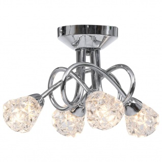vidaXL Deckenleuchte mit Glas-Lampenschirmen für 4 G9 Leuchtmittel