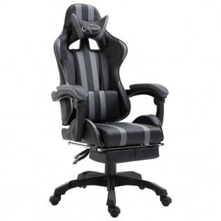 vidaXL Gaming-Stuhl mit Fußstütze Grau PU