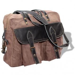 vidaXL Handtasche Canvas und Echtleder Braun