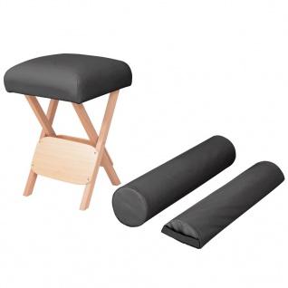 vidaXL Massage-Klapphocker 12 cm Dicker Sitz + 2 Nackenrollen Schwarz
