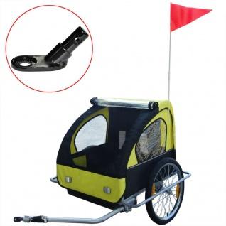 vidaXL Kinder Fahrradanhänger mit zusätzlicher Kupplung Gelb 36 kg