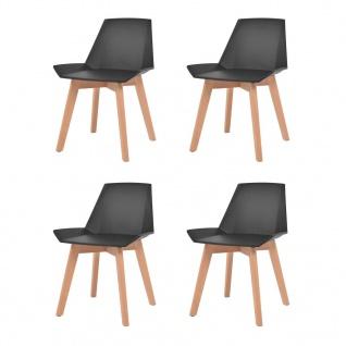 vidaXL Esszimmerstühle 4 Stk. Schwarz Kunststoffsitz Buchenholzbeine