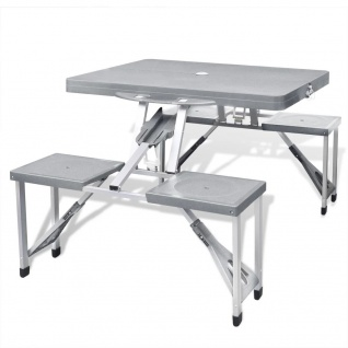 Klappbares Campingtisch-Set Aluminium mit 4 Stühlen extra leicht grau - Vorschau 1