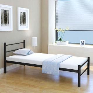 vidaXL Einzelbett mit Matratze Metall Schwarz 90x200 cm