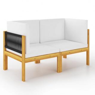 vidaXL 2-Sitzer-Gartenbank mit Kissen Massivholz Akazie