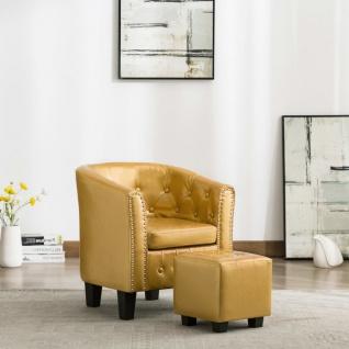 vidaXL Sessel mit Fußhocker Glänzendes Golden Kunstleder