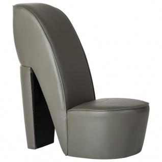vidaXL Stuhl in Stöckelschuh-Form Grau Kunstleder