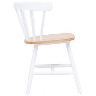 vidaXL Esszimmerstühle 2 Stk. Weiß und Braun Gummiholz Massiv - Vorschau 3
