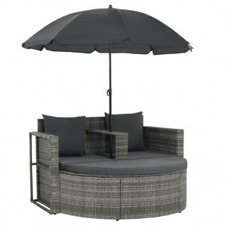 vidaXL 2-Sitzer-Gartensofa mit Auflagen und Sonnenschirm Grau Poly Rattan - Vorschau 2