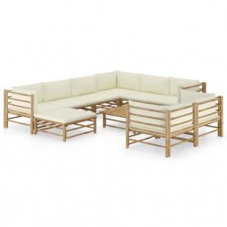 vidaXL 10-tlg. Garten-Lounge-Set mit Cremeweißen Kissen Bambus