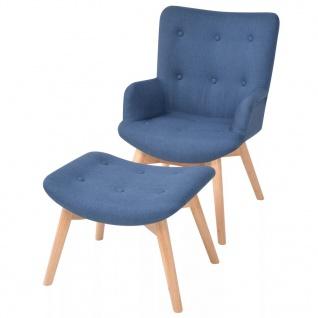 vidaXL Sessel mit Fußhocker Stoff Blau